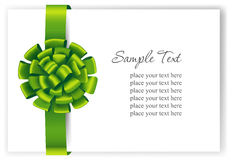 Greeting card with a green ribbon Stock Image