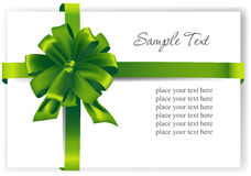 Greeting card with a green ribbon Royalty Free Stock Images