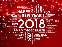 2018 Greeting card. Greeting words around year 2018 typescript on a festive red background Royalty Free Stock Photography
