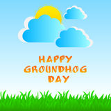 Greeting card of groundhog day Royalty Free Stock Images