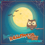 Greeting Card Halloween with owl on background of the moon Royalty Free Stock Photos