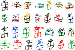 Greeting card - Hand draw sketch of gifts Royalty Free Stock Photo