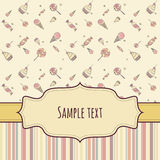 Greeting card with hand drawing candies. Children greeting card with ribbon and tag. Seamless hand drawing candy and colorful striped background patterns Royalty Free Stock Images