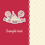 Greeting card with hand drawing candies template. Vector children greeting card with hand drawing illustration of lollipop, cupcake, ice cream, candies. Lace and Stock Photos