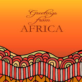 Greeting card with hand drawn african ethnic ornament Royalty Free Stock Photo