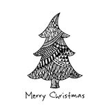 Greeting card with hand drawn Christmas tree Royalty Free Stock Photo