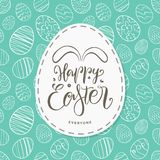 Greeting card with hand drawn eggs, handwritten lettering of Happy Easter Everyone with bunnies ears. Vector illustration: Greeting card with hand drawn eggs Royalty Free Stock Photography