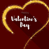 Greeting card with hand-drawn heart. Golden heart from sand, stardust with glitter. Poster for Valentine s day for your Royalty Free Stock Image