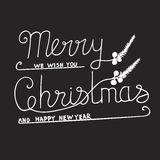 Greeting Card with hand drawn lettering. Handwritten phrase Merry Christmas and Happy New Year. Greeting Card with hand drawn lettering design. Vector vector illustration