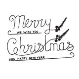Greeting Card with hand drawn lettering. Handwritten phrase Merry Christmas and Happy New Year. Greeting Card with hand drawn lettering design. Vector Stock Photos