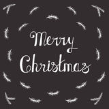 Greeting Card with hand drawn lettering. Handwritten phrase Merry Christmas and Happy New Year. Greeting Card with hand drawn lettering design. Vector Royalty Free Stock Image