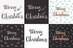 Greeting Card with hand drawn lettering. Handwritten phrase Merry Christmas and Happy New Year. Greeting Card with hand drawn lettering design. Vector Royalty Free Stock Photo