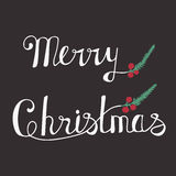 Greeting Card with hand drawn lettering. Handwritten phrase Merry Christmas and Happy New Year. Greeting Card with hand drawn lettering design. Vector royalty free illustration