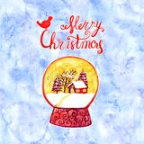 Greeting card of hand drawn lettering and holidays decorations. Christmas text for invitation and greeting card, prints Royalty Free Stock Images