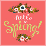 Greeting card with hand lettering and hand drawn florals. Stock Photos