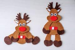 Greeting card handmade christmas rudolph reindeer from felt Stock Image