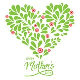 Greeting card with handwritten sign Happy Mothers day and heart. With petals - isolated vector on white background vector illustration
