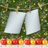 Greeting card hanging on a rope and clothespins Royalty Free Stock Images