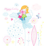 Greeting card with happy birthday Stock Images