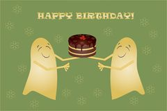 Greeting card Happy birthday, banner. Two cute yellow smiling ghosts holding a chocolate cake with cherries Royalty Free Stock Image