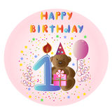 Greeting card Happy Birthday with bear. Vector eps10 illustration Royalty Free Stock Photo