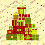 Greeting card. Happy Birthday with a big pile of presents Royalty Free Stock Image