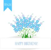 Greeting card Happy Birthday! A bouquet of forget-me-nots, light blue flowers with yellow center on white backgrd Stock Image