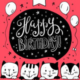 Greeting card Happy birthday!with funny Cats Royalty Free Stock Photography
