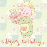 Greeting card Happy Birthday. The lovely girl with cake Royalty Free Stock Photos