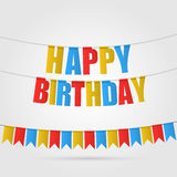 Greeting card happy birthday. Multicolored flags, letters and tapes. Vector. Royalty Free Stock Photo