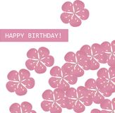 Greeting card Happy birthday. Pink Sakura flowers on white background. Vector, typography banner Royalty Free Stock Photography