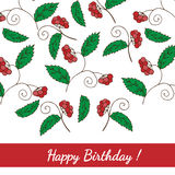 Greeting card Happy birthday with red berry Stock Images