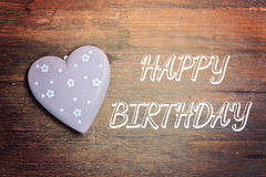 Greeting card happy birthday. Greeting card with red heart happy birthday stock images