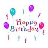 Greeting card - Happy Birthday text and balloons royalty free illustration