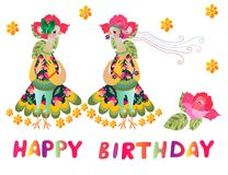Greeting card Happy birthday with two cute cartoon birds-fashionistas. Vector illustration Stock Photos