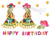 Greeting card Happy birthday with two cute cartoon birds-fashionistas. Stock Photos