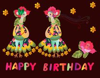 Greeting card Happy birthday with two cute cartoon birds-fashionistas. Stock Photo