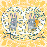 Greeting card happy birthday. two rabbits, carrots, heart Royalty Free Stock Photo