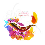 Greeting card for Happy Deepawali celebration. Royalty Free Stock Images