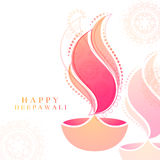 Greeting Card for Happy Deepawali celebration. Elegant Greeting Card design with creative floral Oil Lamp (Diya) for Indian Festival of Lights, Happy Deepawali vector illustration