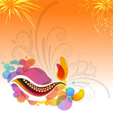 Greeting Card for Happy Diwali celebration. Abstract festive background with creative oil lamp, floral design and firework explosion, Elegant Greeting Card for Stock Image