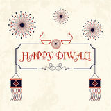 Greeting Card for Happy Diwali celebration. Elegant Greeting or Invitation Card design decorated with hanging kandil lamps and fireworks for Indian Festival of Royalty Free Stock Photo