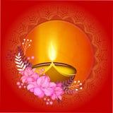 Greeting card for Happy Diwali celebration. Indian Festival of Lights, Happy Diwali celebration greeting card with shiny illuminated lit lamp, beautiful flowers