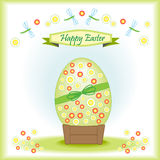 Greeting card Happy Easter with big Easter egg. Decorated with flowers and dragonflies and festive ribbon happy easter Stock Photo