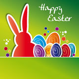 Greeting card happy easter, colorful Easter eggs Royalty Free Stock Images