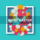 Greeting card with Happy Easter - with colorful flower Easter Egg with frame. Royalty Free Stock Photo