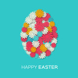 Greeting card with Happy Easter - with colorful flower Easter Egg. Stock Photography