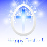 Greeting card Happy Easter with a Cross inside a Easter egg on a. Blue sky with rays of light shining stock illustration