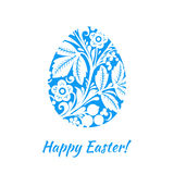 Greeting card with a happy Easter. The egg is painted with a flo Royalty Free Stock Photo
