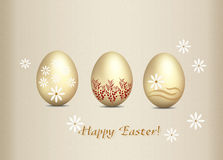 Greeting card Happy Easter. Gentle Greeting Card Easter decorated with golden eggs Stock Images